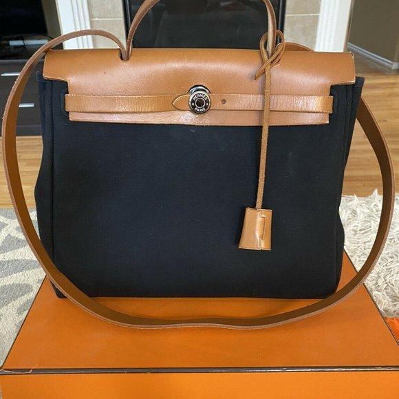 Hermes Herbag 31cm Black Canvas & Beige Vache Bag
